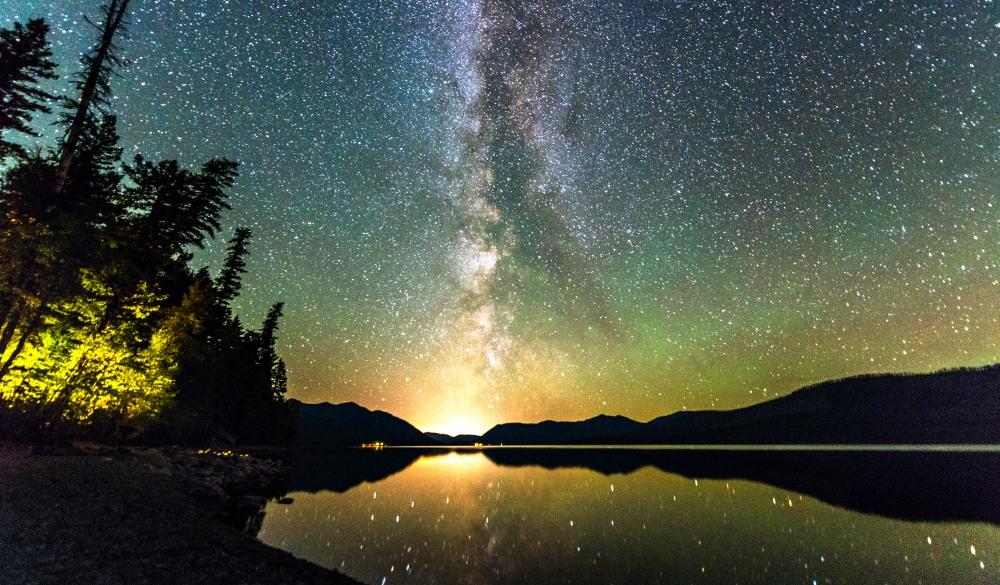 night sky landscape in Glacier National Park.