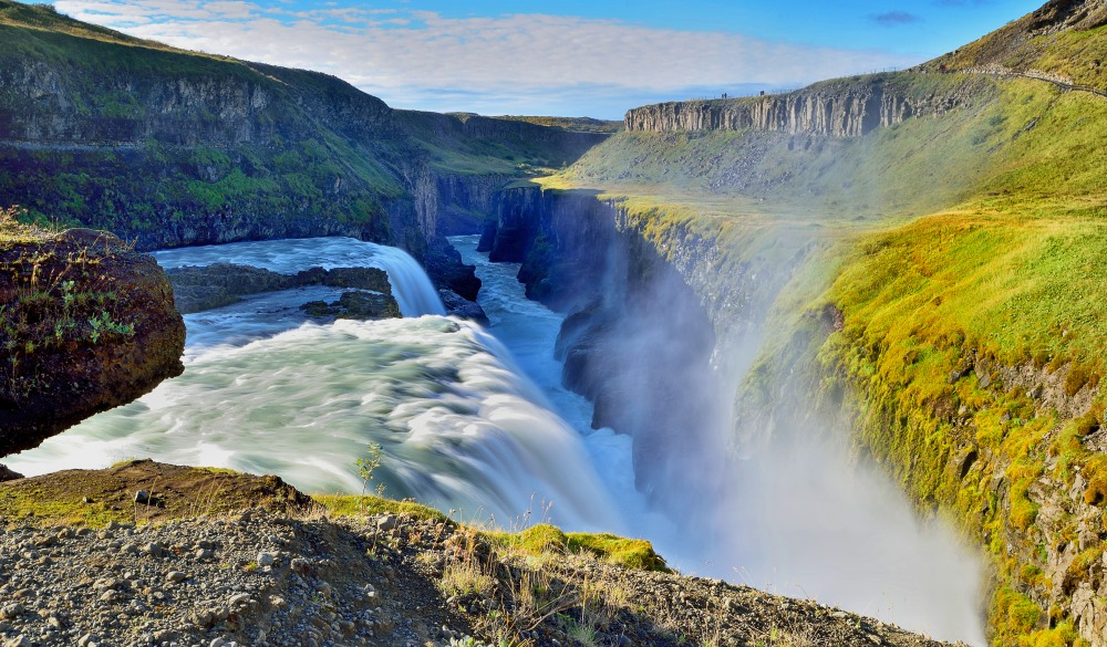 Spectacular Gullfoss waterfall in southwest Iceland. ultimate travel bucket list