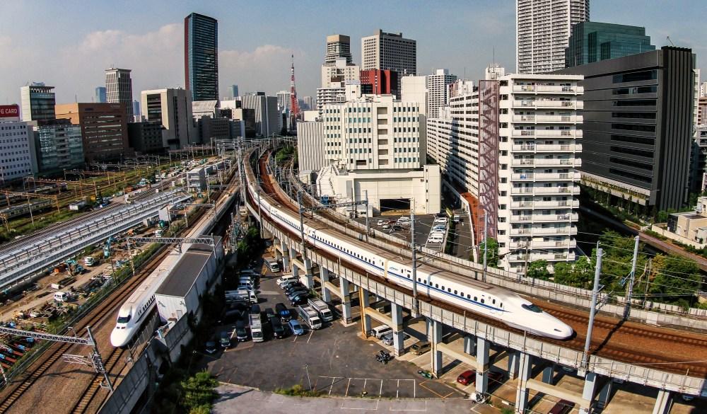 Tokyo Skyline with trains Shinkansen, bucket list