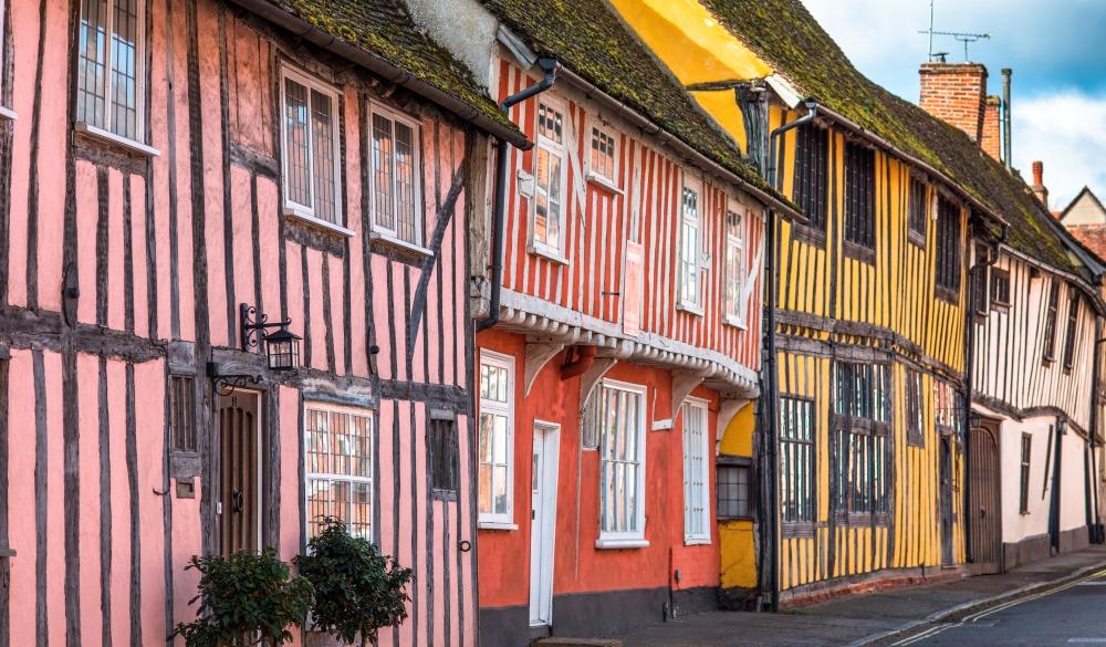 Half-timbered medieval cottages, Water Street, Lavenham, Suffolk, England, United Kingdom, travel gems in europe