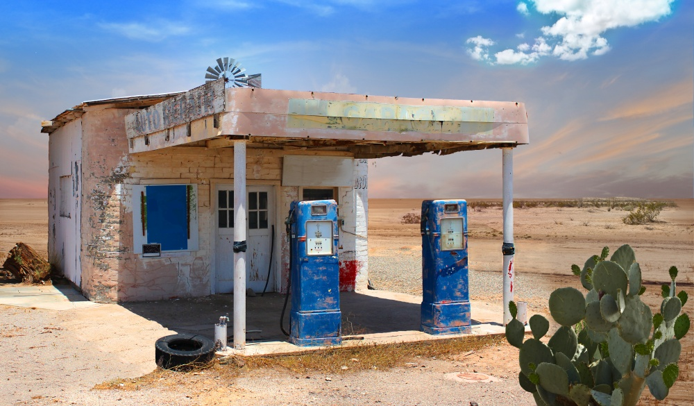 Retro Style Scene of old gas station in Arizona Desert