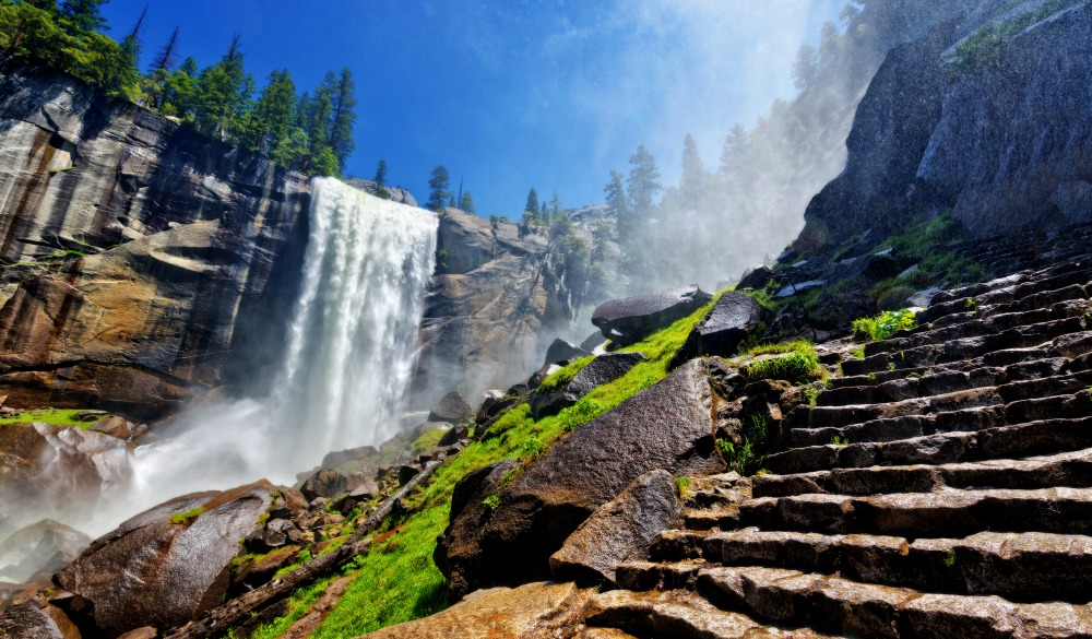 Vernal Falls along the Mist Trail in early summer, Yosemite National Park