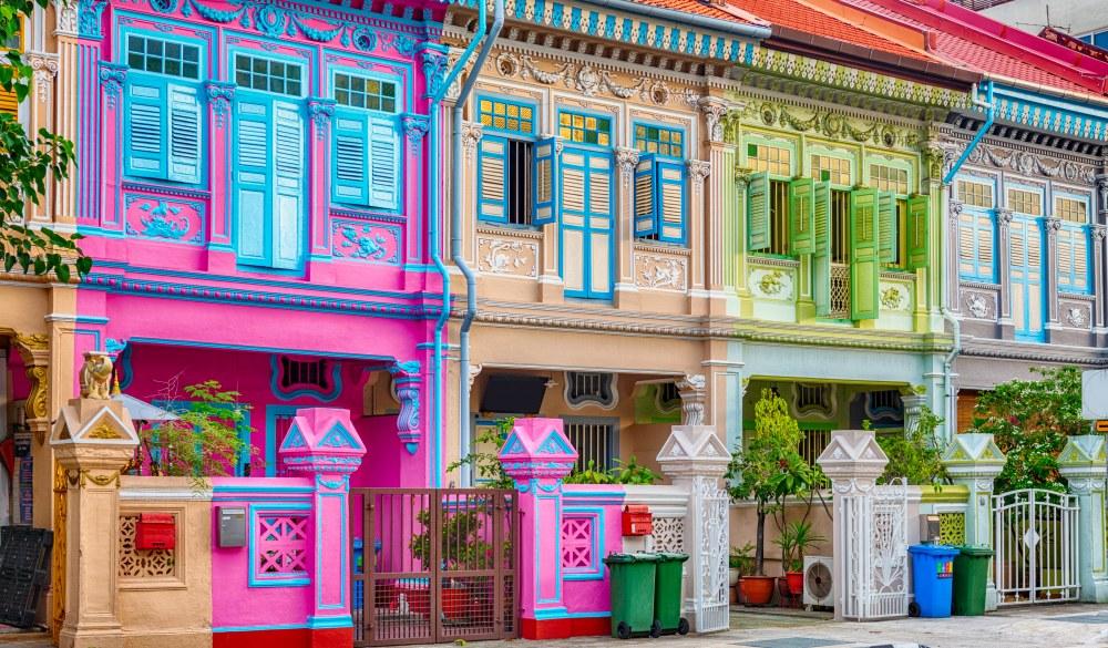 Singapore, Shophouses on Koon Seng Road