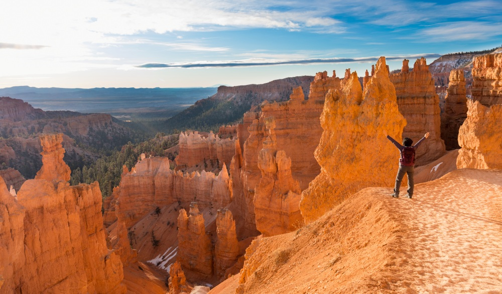 Mature woman hiking Bryce Canyon National Park, ultimate travel bucket list