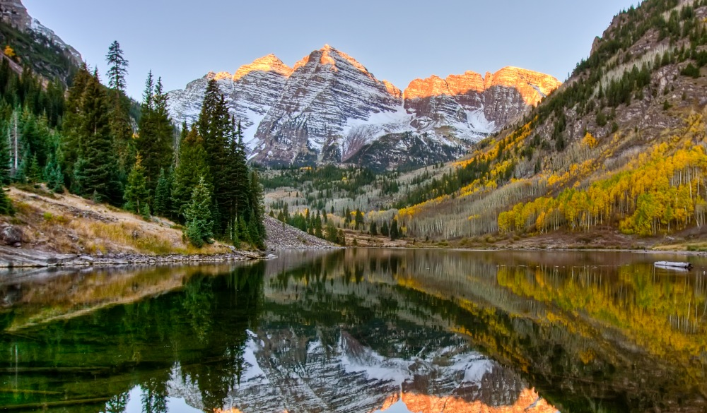 Maroon Bells while being reflected in lake
