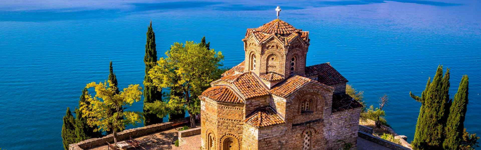 Church of Saint John the Theologian at Kaneo, overlooking Ohrid lake, Macedonia.