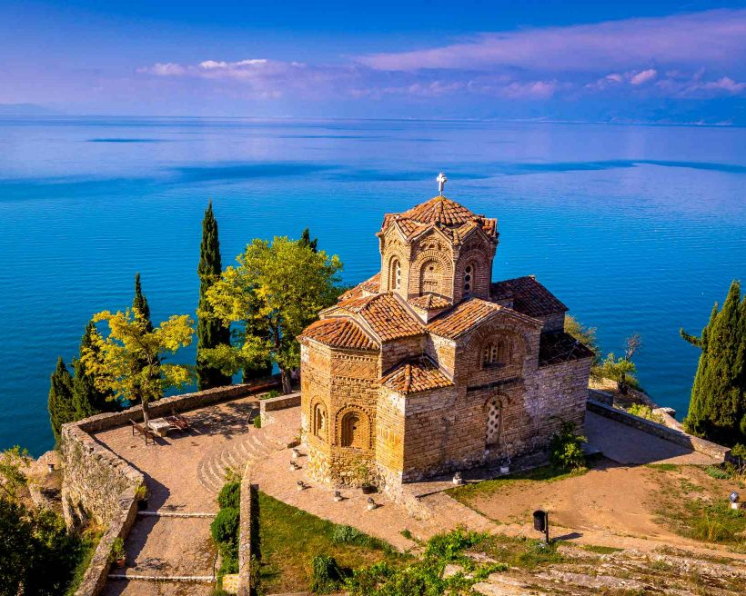 Church of Saint John the Theologian at Kaneo, overlooking Ohrid lake, Macedonia.