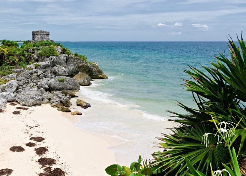 Tulum ruins at Mexico Riviera maya with seascape
