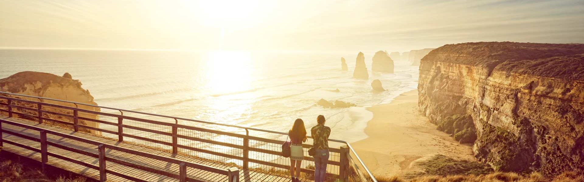 Tourists looking a The 12 Apostles