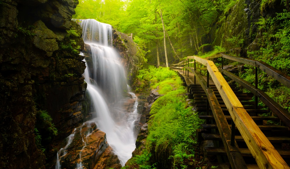 Water Falls in The Flume, best hikes in the US