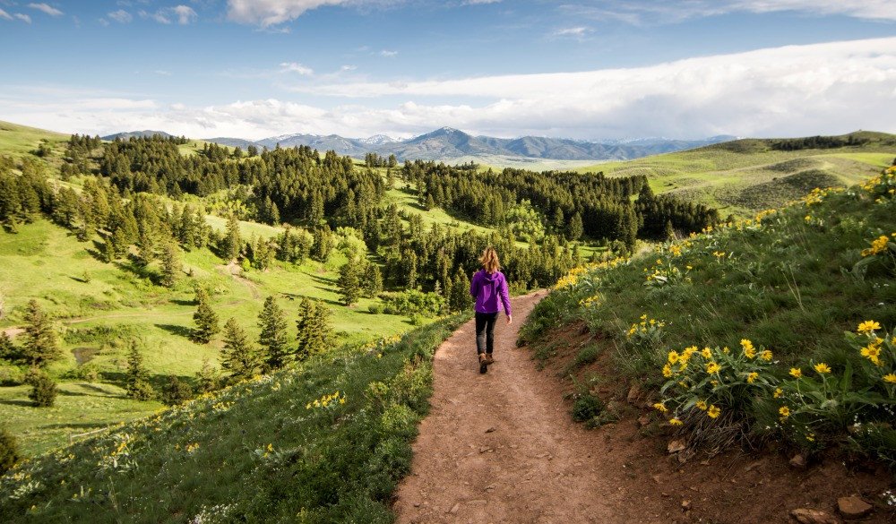 A woman enjoying a day hike on a summer day in Montana