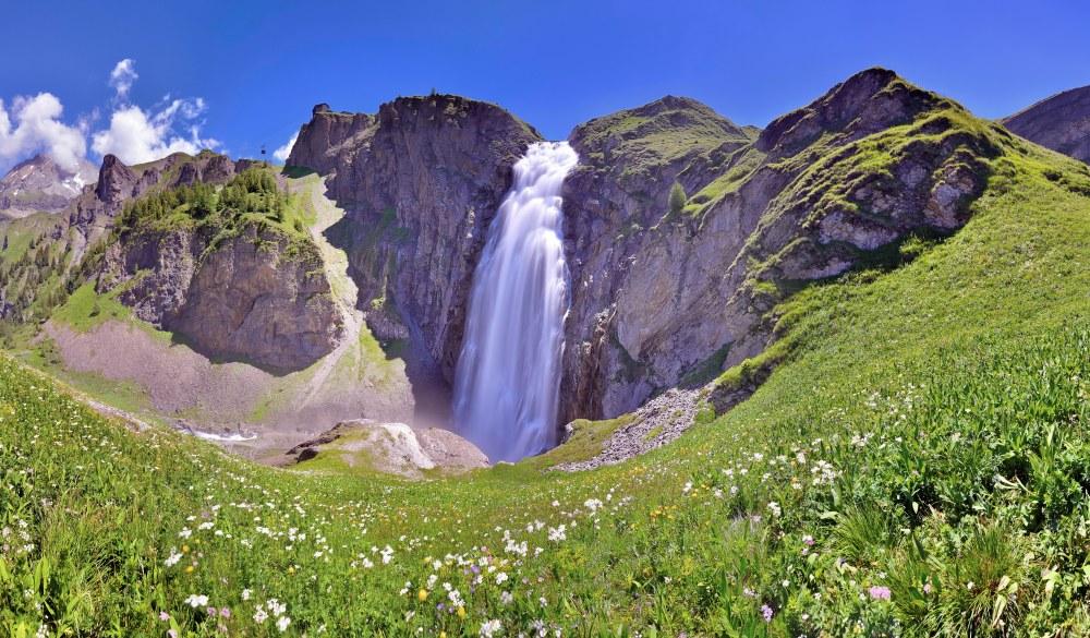 Waterfall, Engstligen Falls, Panorama, Engstligenalp, Adelboden, Bernese Oberland, Canton Bern, Switzerland