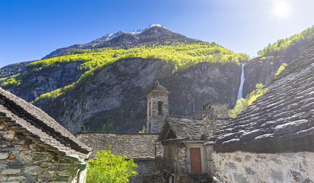 Traditional houses and church of Foroglio