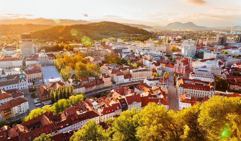 Ljubljana cityscape seen from above at sunset, Slovenia, EU