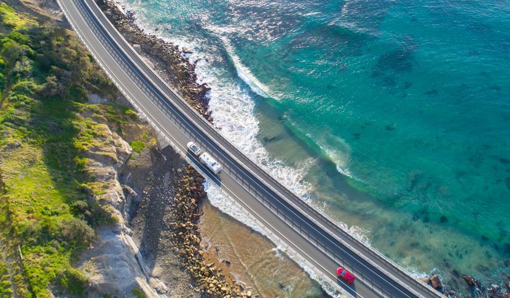 Sea Cliff Bridge, New South Wales Aerial, iconic Australian raad trip destination