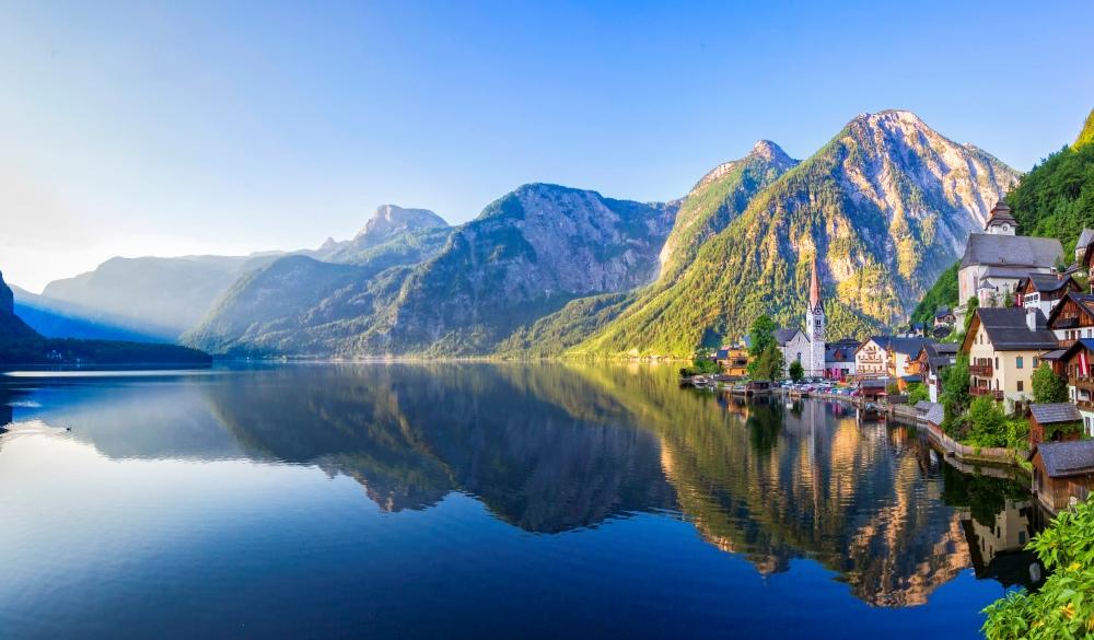 Hallstatt Village and Hallstatter See lake in Austria