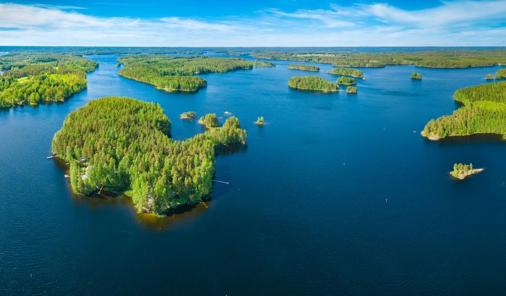 Aerial panoramic view of archipelago in lake Saimaa, Finland