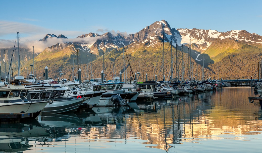 Seward Harbour and Alaska Mountain Range at Sunset