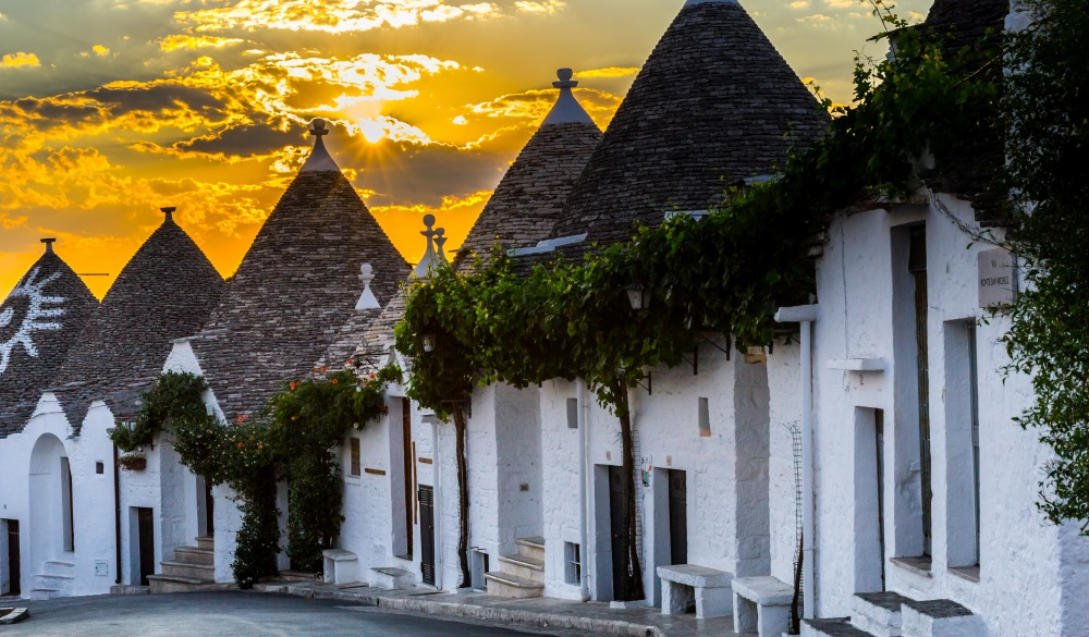 The trulli, the typical style of houses in Alberobello