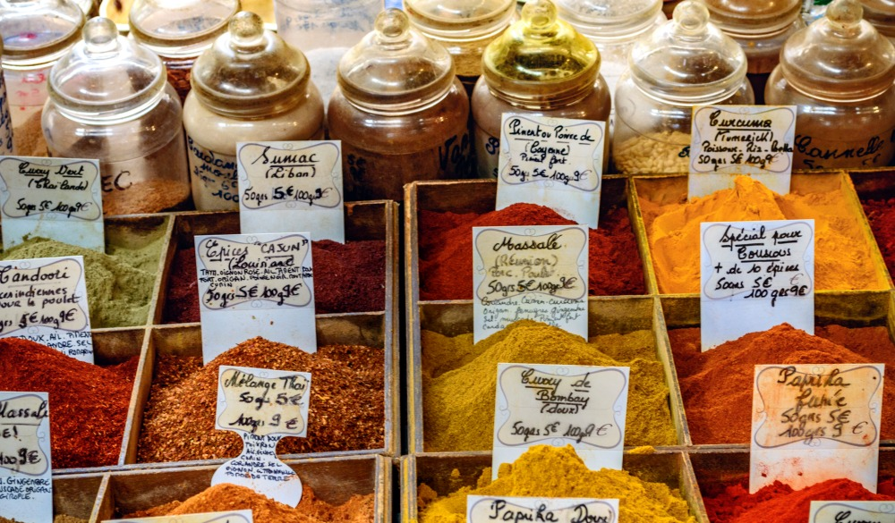 Spice stand in the Provencal Market of Antibes, Cote D'Azur, French Riviera, France