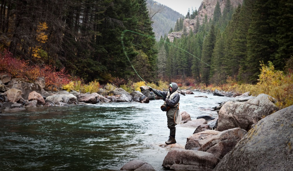 A athletic man fly fishing stands on the banks a river surrounded with the fall colors in Montana., nature travel destinations