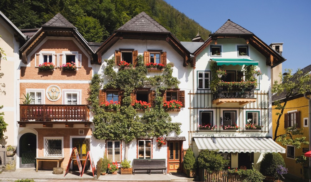 Chalets at marketplace, Hallstatt destination for road trips in austria