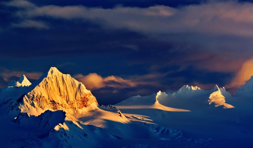 USA, Alaska, Kenai Mountains and storm clouds at sunset, best of Alaska