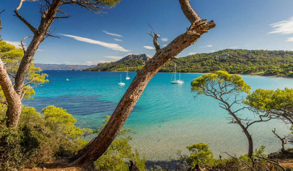 The Bay Of The Alycastre And Its Beach Notre Dame On The Island Of Porquerolles