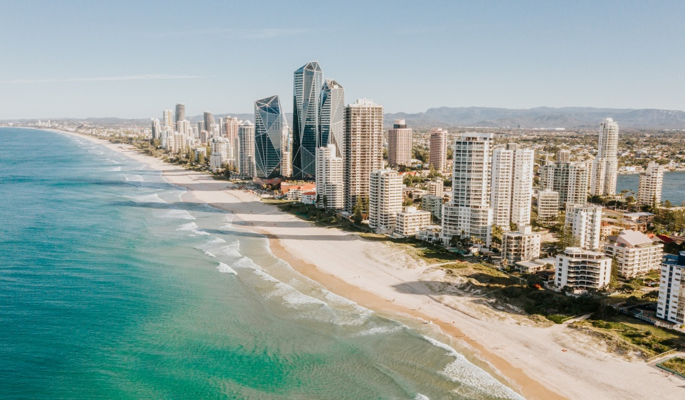 The Gold Coast strip, Queensland, iconic australian raod trip destination