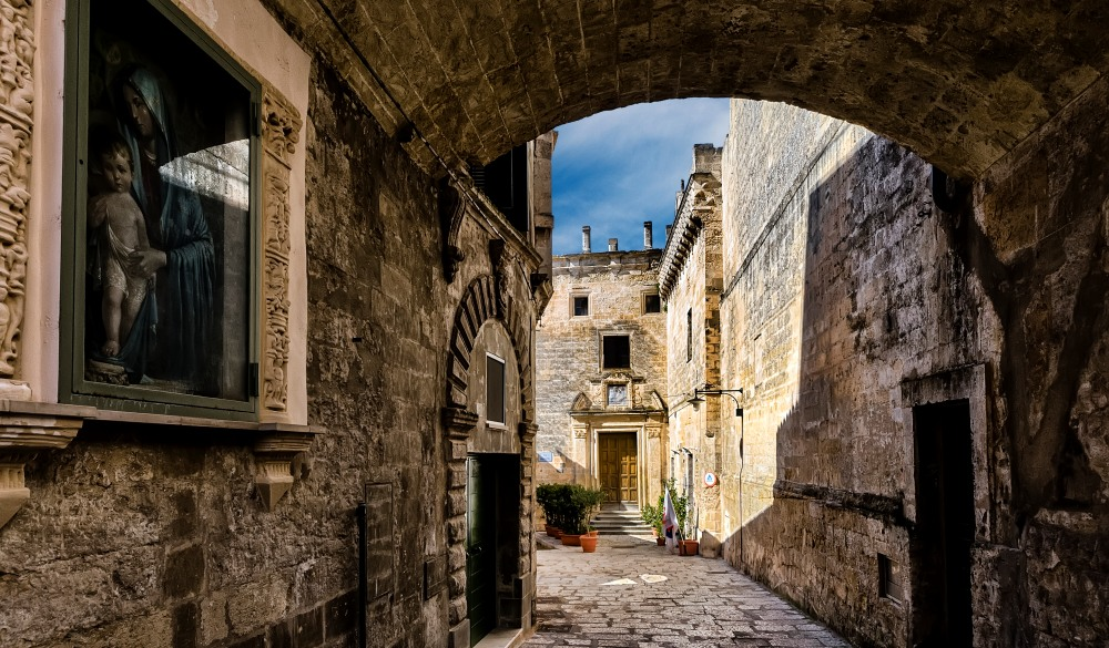 Holy image and old lane in Matera