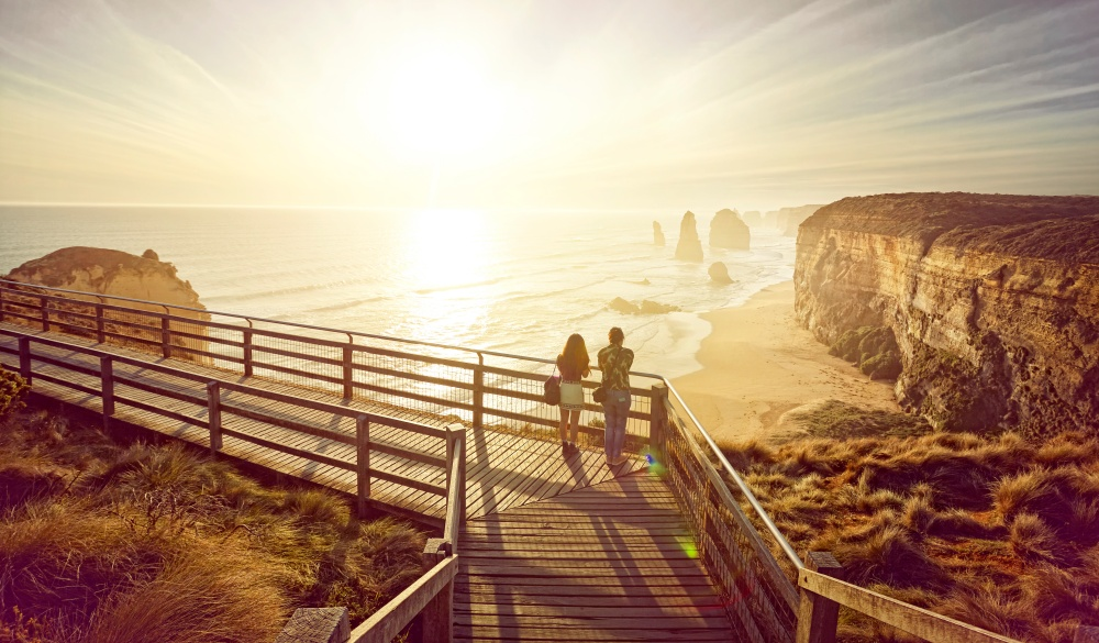 tourists looking at the 12 apostles on the great ocean road,