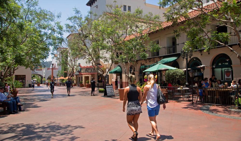 Walking through Santa Barbara scenic street