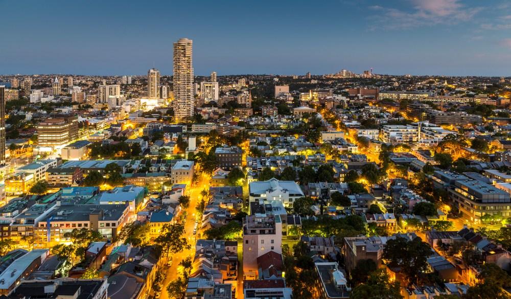Inner city suburb of Darlinghurst at dusk