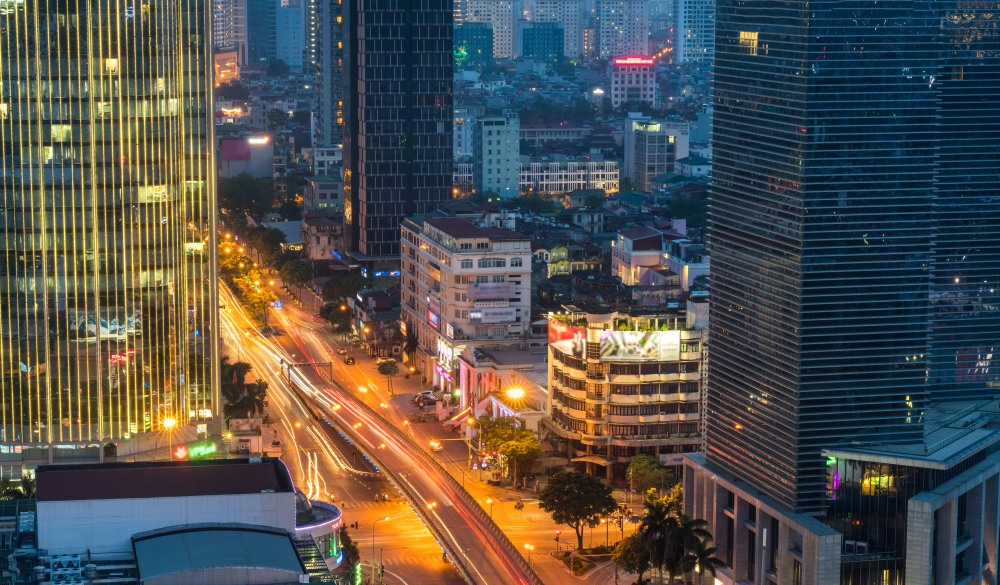 Aerial skyline view of Hanoi. Hanoi cityscape at twilight at Lang Ha street, Ba Dinh district