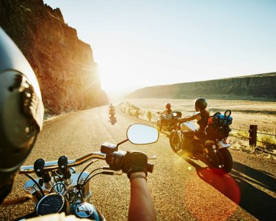 Group of female friends on motorcycle road trip