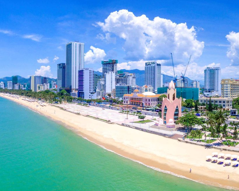 Panorama of the city of Nha Trang in Vietnam from drone point of view