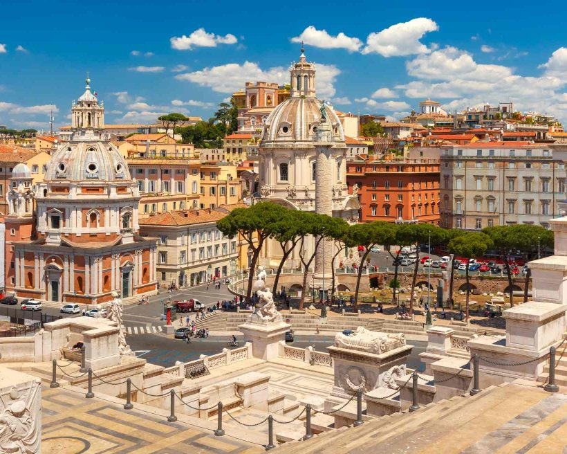 Ancient Trajan Forum in Rome, Italy