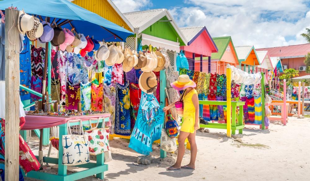 Woman at souvenir market, Long Bay Beach, Antigua
