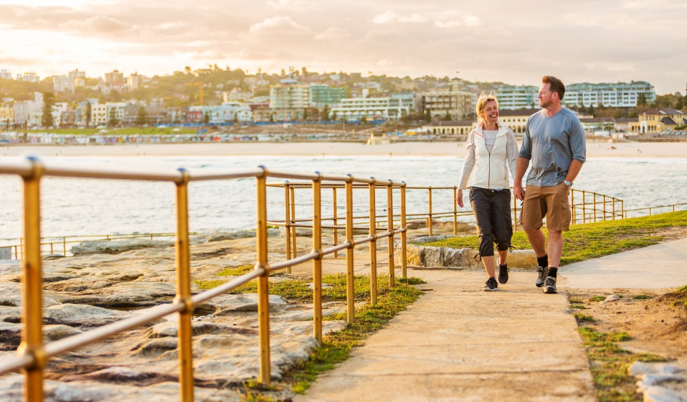 Happy Middle Aged Active Fit Healthy Beach Couple Walking Outdoors