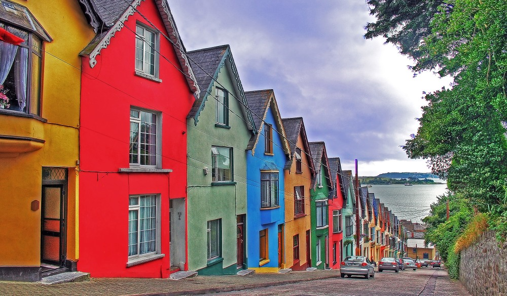 Colorful painted houses in Cobh, destination for a weekend getaways in europe