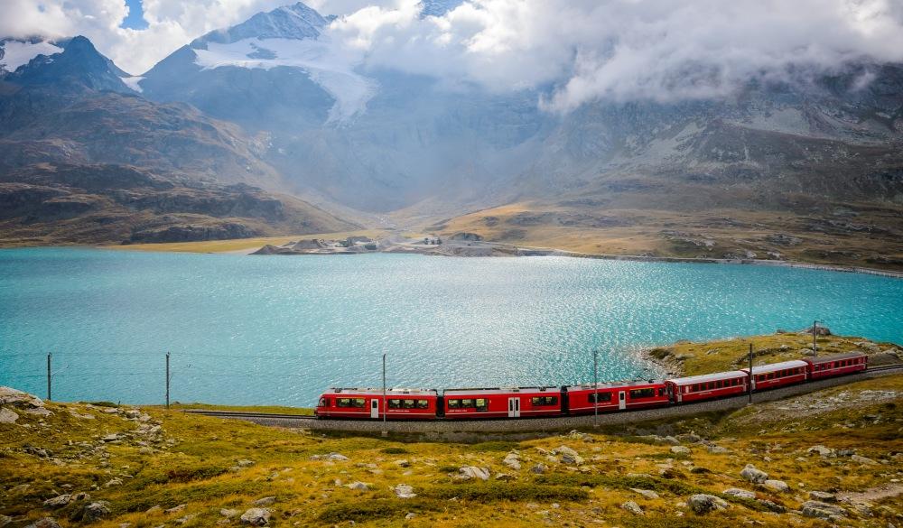 train running on the Bernina railway , scenic train ride