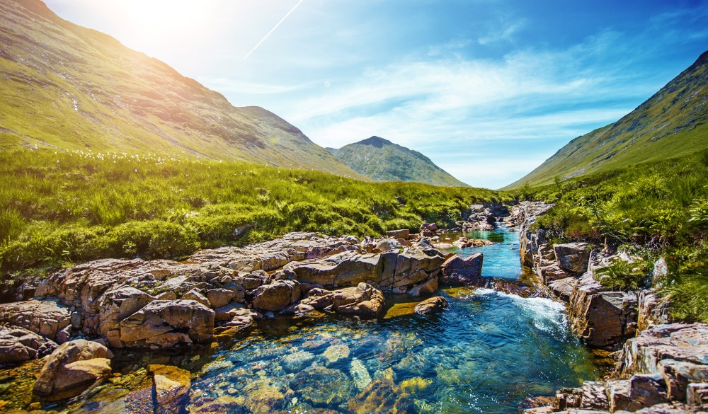 Idyllic scene with mountains and stream in Scottish Highlands near Glen Coe, scottish highlands destinations