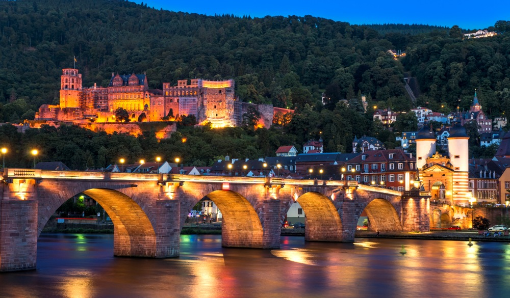 Baden-Wuerttemberg, Heidelberg, View to Old town, Old bridge and Heidelberg Castle, destination for a weekend getaways in europe
