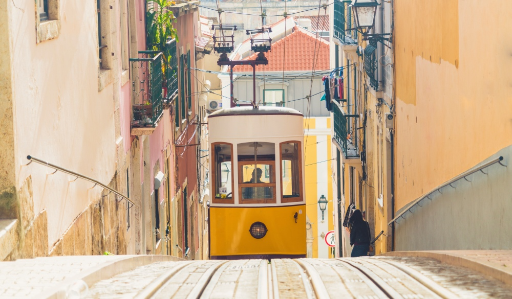 Bairro Alto, Elevador da Gloria, yellow cable railways, best destination for Portugal road trip