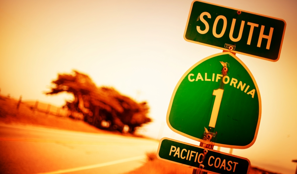 Pacific Coast Highway Road Sign, motorcycle rides road trip