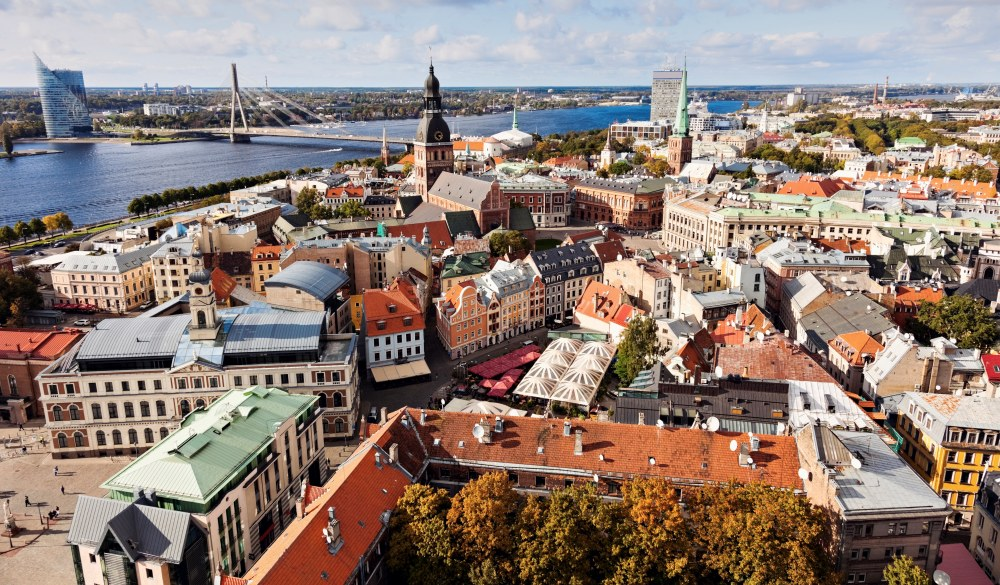 Latvia, Riga old town and river, destination for a weekend getaways in europe