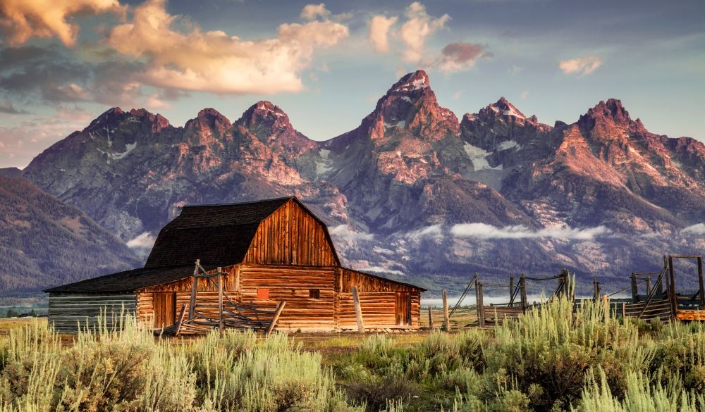 Moulton Barn and Tetons in Morning Light, motorcycle rides road trip