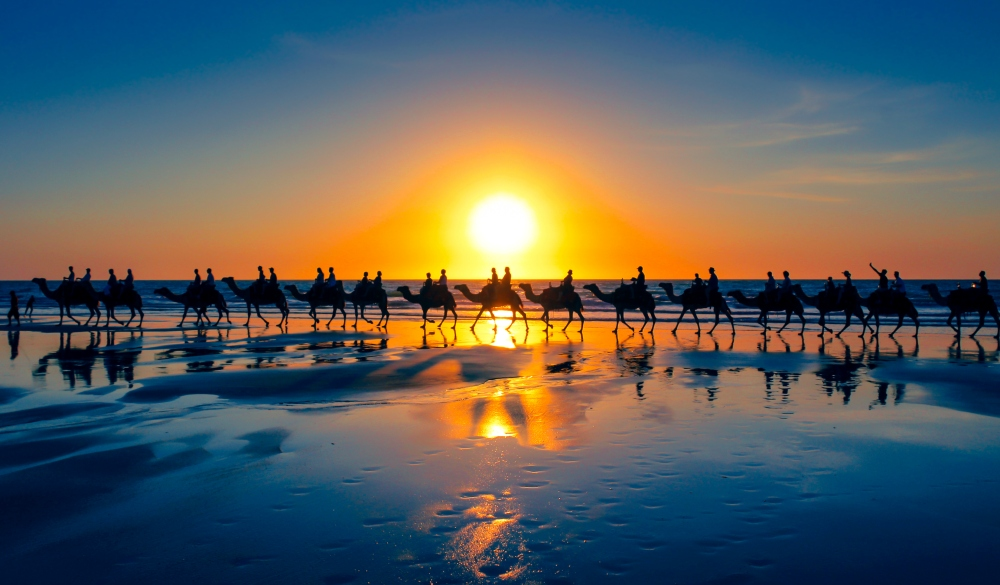 The famous camel train, Cable Beach, Western Australia, romantic destinations in Australia