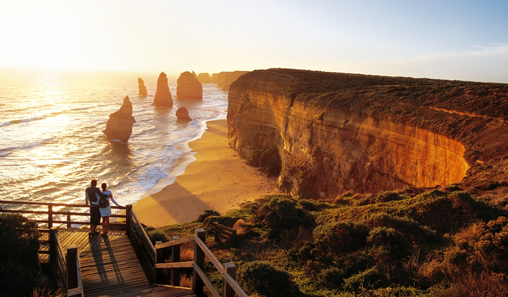 Romantic sunset over the sea., great hikes in australia destination