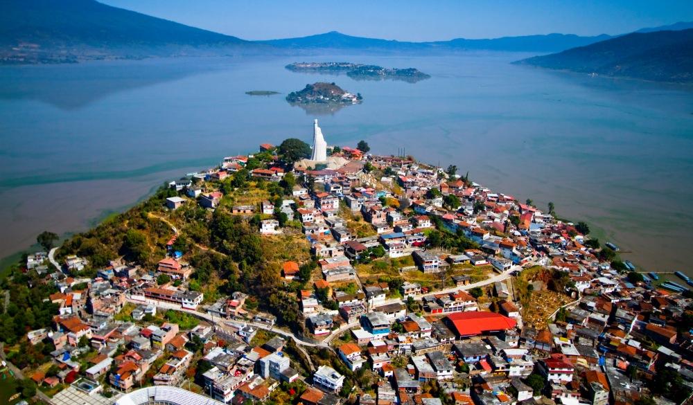 Aerial Patzcuaro lake